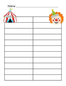 Nonsense Word Fluency- DIBELS Intervention- Circus theme