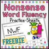 Nonsense Word Fluency {FREEBIE} Practice Work Sample {RTI Progress Monitoring}