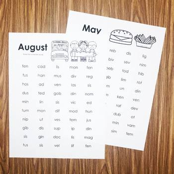 Nonsense Words Monthly Practice Printables