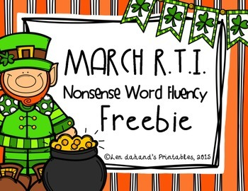 Nonsense Word Fluency Freebie for ST. PATRICK'S DAY by Ms. Lendahand