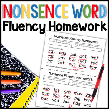 Nonsense Word Fluency Homework