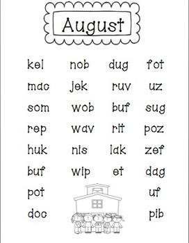 Nonsense Word Fluency Monthly Practice