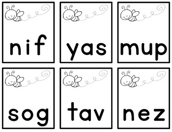 Bzzz! | Nonsense Word Fluency | Games | Practice | Intervention | FREE!