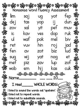 Nonsense Word Fluency R.T.I. Pack by Ms. Lendahand (St. Patrick's Day Theme)