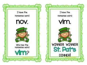 St. Patrick's Day Nonsense Word Fluency R.T.I. Resource Pack
