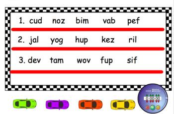 Nonsense Word Fluency Speedway~Smartboard Activity