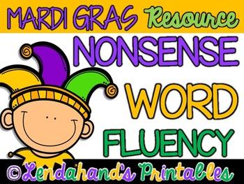 Nonsense Word Fluency R.T.I. Pack by Ms. Lendahand (Mardi Gras Theme)