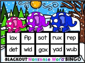 Winter Nonsense Word Fluency R.T.i. Blackout Bingo Game (Elephant Theme)
