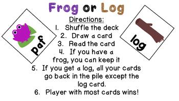 Nonsense Word Game- Frog or Log
