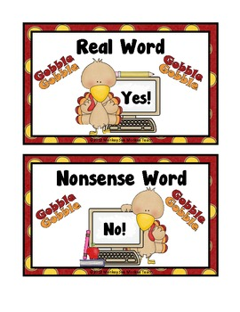 Nonsense Word Game: Real vs Nonsense/ Turkey Theme
