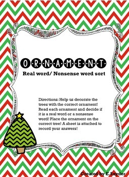 Ornament Real Word/ Nonsense Word Sort