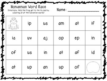Nonsense Word Race 2 Letter Words FREEBIE by Klever Kiddos | TpT