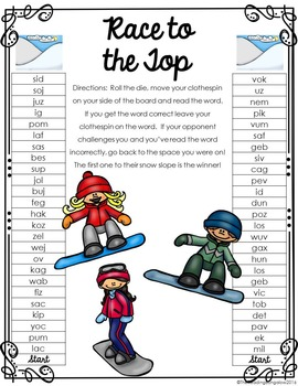 Nonsense Word Race to the Top {Winter Edition}