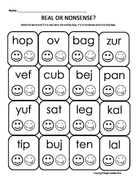Nonsense Word Smiley Face Dabber Activity