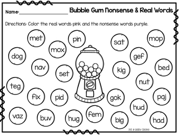 DIBELS Nonsense Word Sort 226445 on for sale
