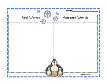 Nonsense Word Sort- Winter Theme