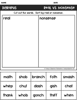 Nonsense Word Sorts Digraphs (Cut and Paste Activities)