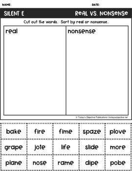Nonsense Word Sorts Silent E (Cut and Paste Activities)
