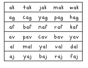 Nonsense Word Strips {A Nonsense Word Game}