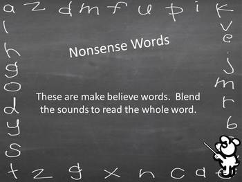 Nonsense Word Virtual Flashcards-individual sounds and words