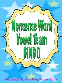 Nonsense Word Vowel Team Bingo- ee, ea, ai, oa, ay
