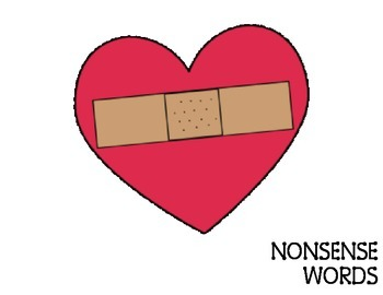 Nonsense Word vs Real Word Valentine Heart Word Sort