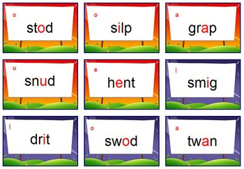 Nonsense Words Fluency Game: {CHANGE Card Game} - Covers CCVC & CVCC