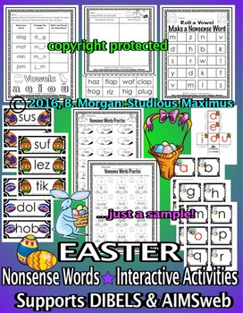 Nonsense Words Activities – Easter (supports AIMSweb and DIBELS)