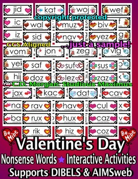 Nonsense Words Activities – Valentine's Day (supports AIMSweb and DIBELS)