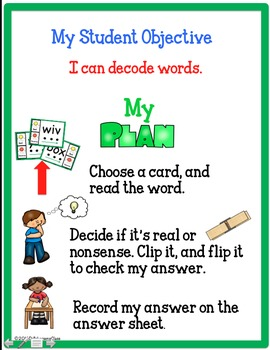 Nonsense Words Clip and Flip Task Cards