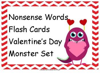 Nonsense Words Flashcard set Valentine's Day Monster set