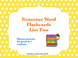 Free Nonsense Words Flashcards List Two