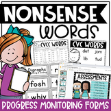 Nonsense Words Progress Monitoring Forms, Tracking Sheets, & Word Cards