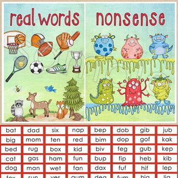 Nonsense Words / Real Words Sorting Activity - reading fluency DIBELS prep
