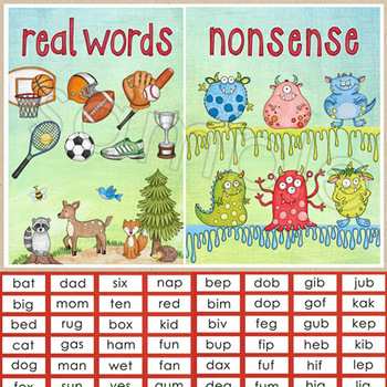 Nonsense Words / Real Words Sorting Activity - reading fluency DIBELS prep