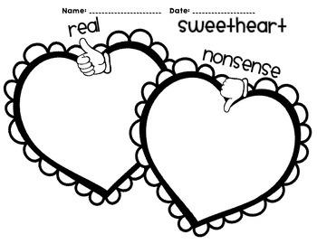 Nonsense Words Sort Sweetheart - February