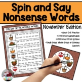 Nonsense Words Spin and Say- November Edition