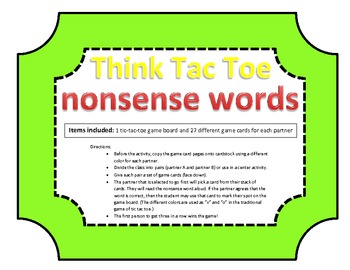 Nonsense Words: Think-Tac-Toe