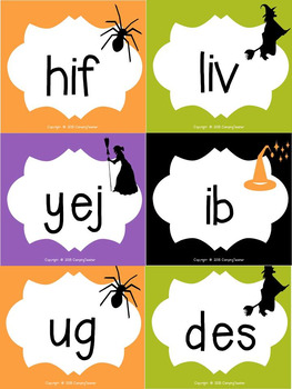 Nonsense Words and Real Words Match Up Halloween Theme