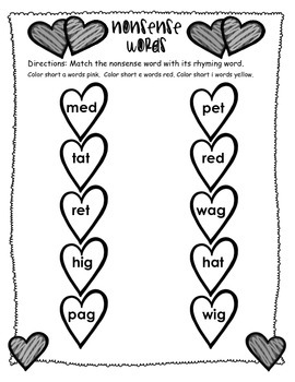 Nonsense Words and Rhyming Words -Valentines