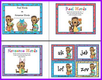 Nonsense Words vs Real Words  Easter Monkey