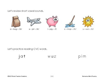 Nonsense and Real Word Practice and Asssessment Lists