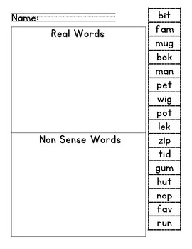 Nonsense and Real Words