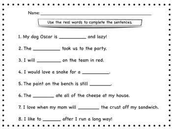 Nonsense verses real words. 3 activities included. Great for Dibels warm up