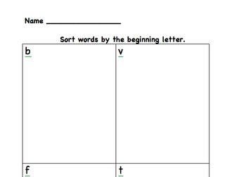 Nonsense word sort for letter sounds b t  v f  First Grade Word Work
