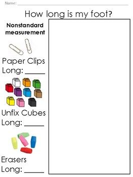 Nonstandard Measurement-Tracing and Measuring Foot: Paper Clips, Cubes, Erasers