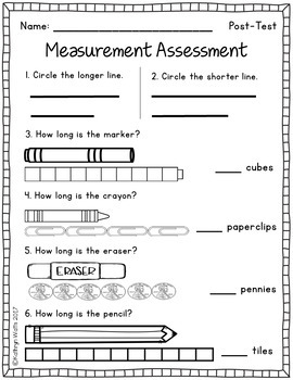 nonstandard measurement assessment by kathryn watts tpt. Black Bedroom Furniture Sets. Home Design Ideas