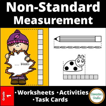 Nonstandard Measurement worksheets and task cards bundle