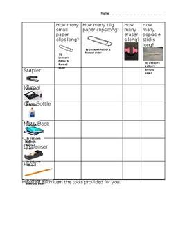 Nonstandard Measurement Worksheet