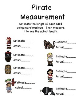 Nonstandard Measurement with Marshmallows - Pirate Theme